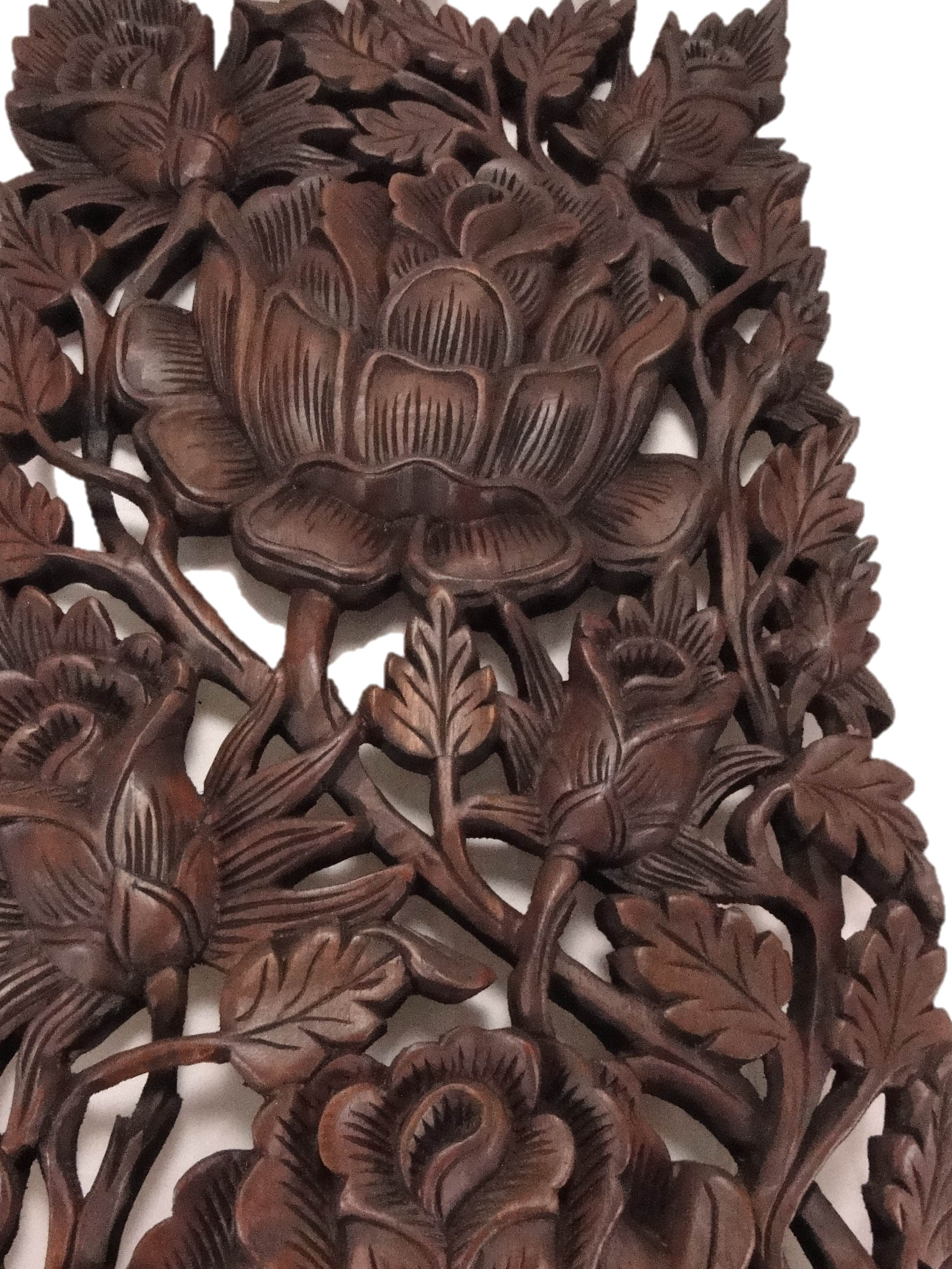 Roses reclaimed teak wood carving wall art akha