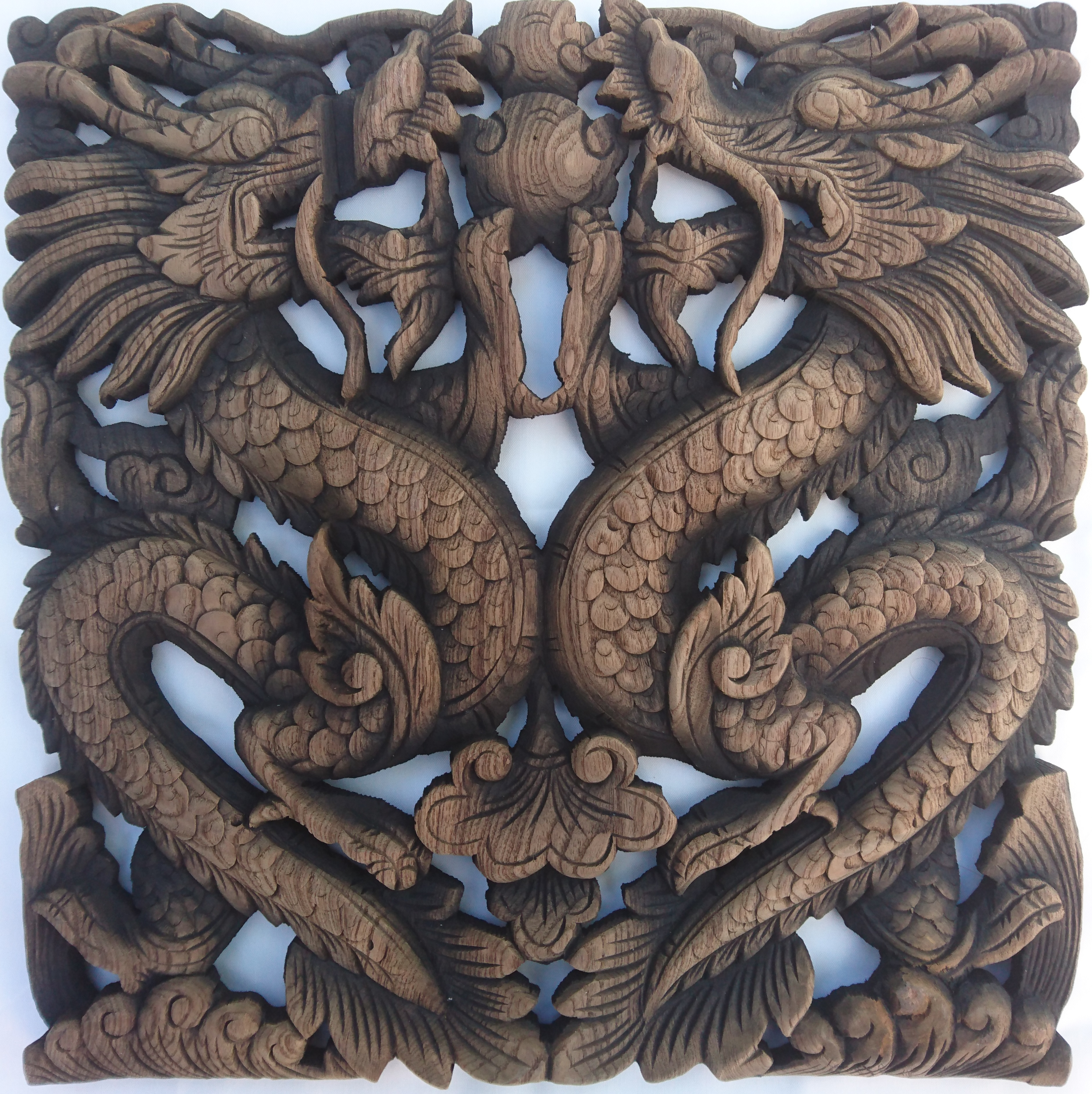 Teak wood carving wall art dragon akha